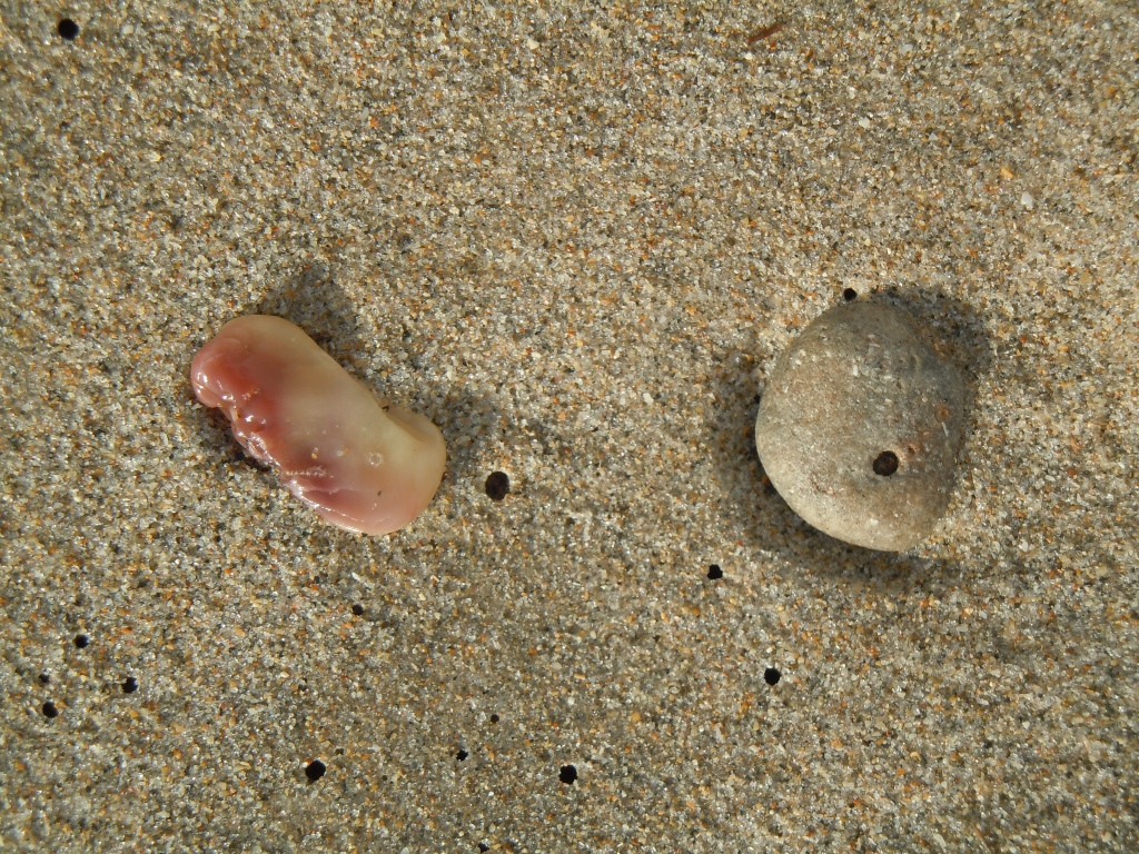 Pink, Pebble, and Holes in the Sand